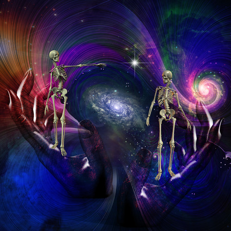 life after death: Skeletal Figures in Cosmos Stock Photo