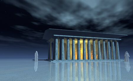 priest's ritual robes: Ancient temple and its mysterious priests