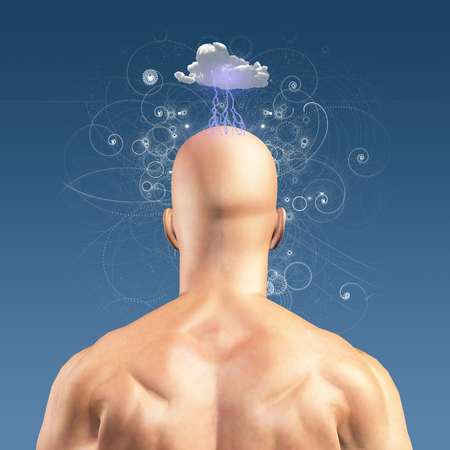 metaphor: Man with Head in clouds
