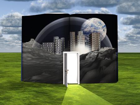 Book with science fiction scene and open doorway of light 写真素材