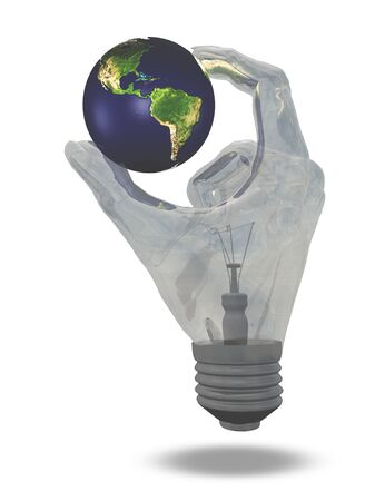 technology symbols metaphors: Light Bulb hand holds earth showing north and south america Stock Photo