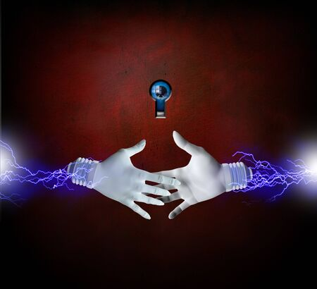 electrocute: Hands about to shake with eye
