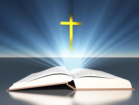 Licht straalt uit bijbel onder kruis Stockfoto