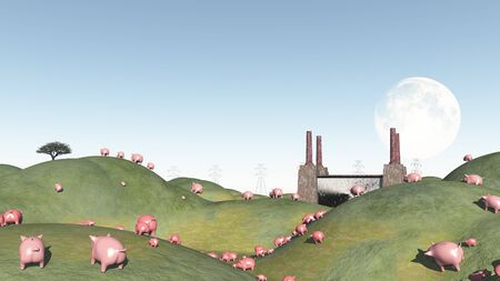 pig roast: Pigs move like lemmings toward factory Stock Photo