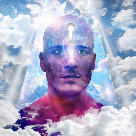 subconscious: Starman with keyhole in head Stock Photo