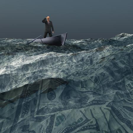 dark skies: Man afloat on sea of US currency under dark skies