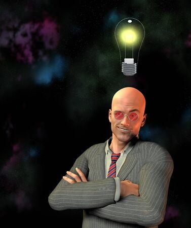 smirk: Man with smirk and idea