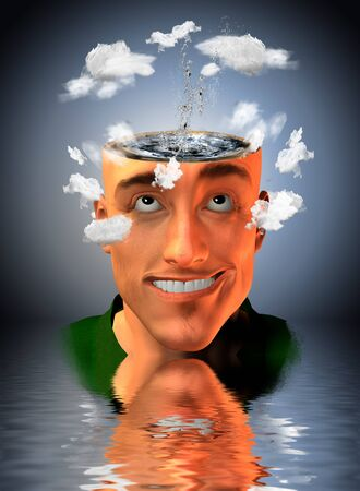 introspection: Man with water in head and clouds