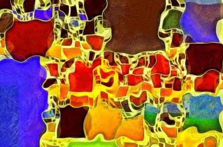 hues: Twisted rectangular abstract in vivid hues Stock Photo
