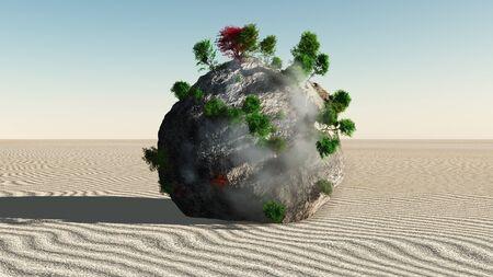 zen like: Fantasy Rock Island in Zen Like Minimal Landscape