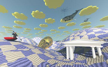 strange: Strange desert scene with flying whales and man boating in sand in large umbrella
