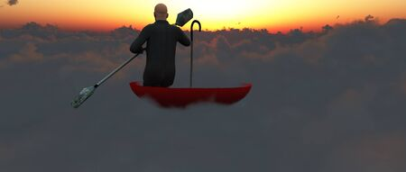 upturned: Man paddling through clouds in an upturned umbrella into sunset