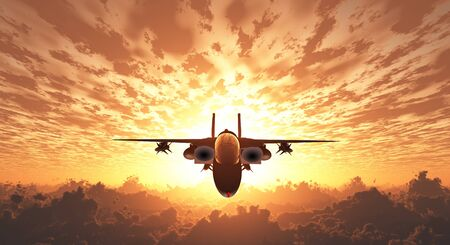 freedom fighter: Military Jet  in Flight Sunrise or sunset