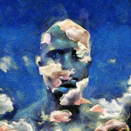 reflection: Painting of sky man Stock Photo