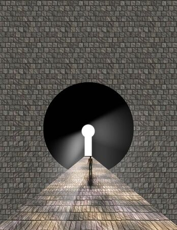 view window: Man stands before keyhole