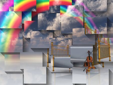 rainbow scene: Bed with violin and rainbow in surreal scene