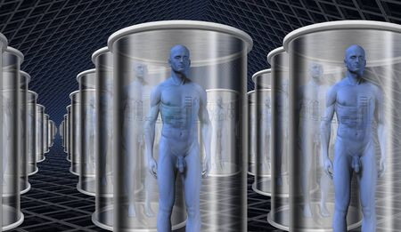 human evolution: Androids in storage or transport on ship