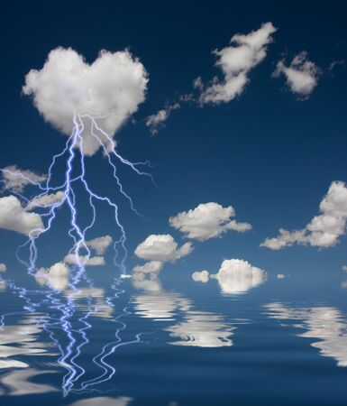 struck: Heart Shaped Cloud With Thunderbolt and Reflection on Water