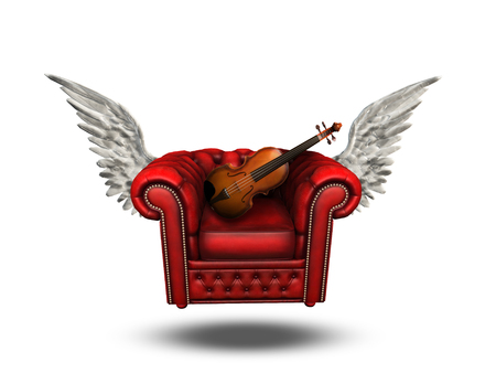 winged: Winged Comfort Chair with Violin Stock Photo