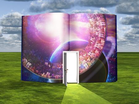 Book with science fiction scene and open doorway of light Banco de Imagens