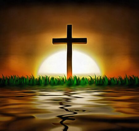 atonement: Cross and sun over water Stock Photo