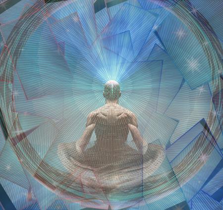 silueta hombre: Meditar hombre y Energía Foto de archivo