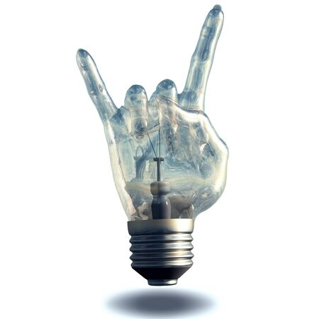 rock n: Rock n roll horns gesture lightbulb