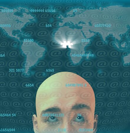 peice: Man before digital screen with puzzle peice Stock Photo