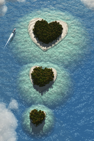caribbean beach: Heart Islands