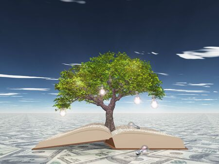 lucrative: Tree with light bulbs grows out of open book atop US currency surface