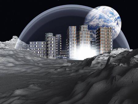 月面のコロニー