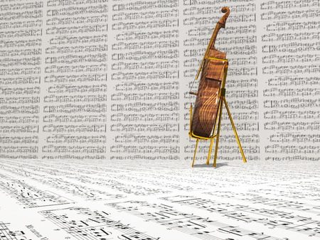 sheet music: Cello and music notation background Stock Photo
