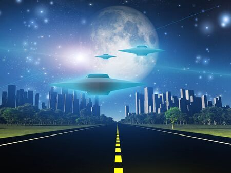 futuristic city: Highway to city with large moon and alien ships