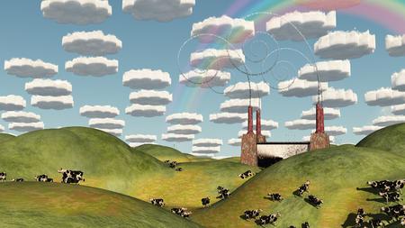Surreal Pasture Factory Landscape