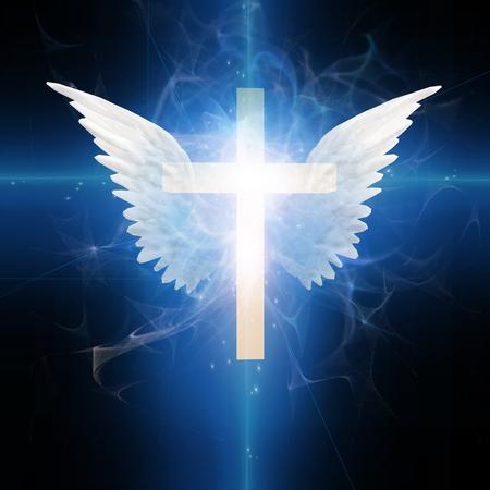 Kruis met vleugels Stockfoto