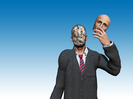 man illustration: Man removes face to reveal gears