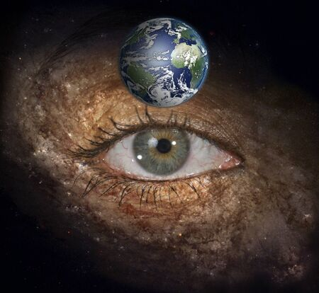 midst: Eye in midst of Galaxy with Earth Stock Photo
