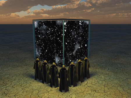 Cloaked figures before cube of space