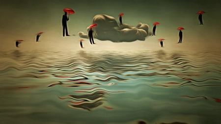우산 남자는 초현실적 인 장면에 하늘에서 가져