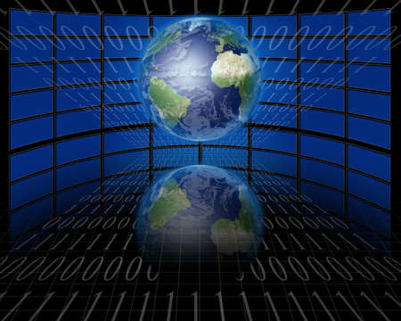 communications: Screens and binary with Earth Stock Photo