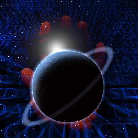 schöpfung: Planeten-Hintergrund mit Kreationen Hand