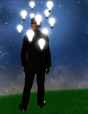 surreal landscape: Surreal landscape with man and idea bulbs