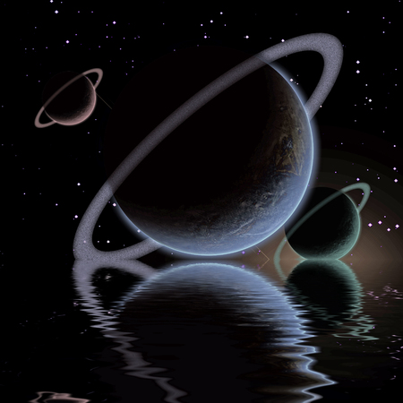 waters: Waters reflection and Planets Stock Photo