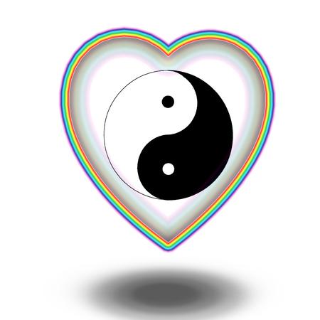 heart sign: yin yang sign in rainbow heart