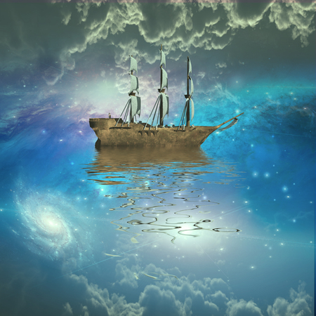 mysterious: Sailing ship sails through the stars abstract background