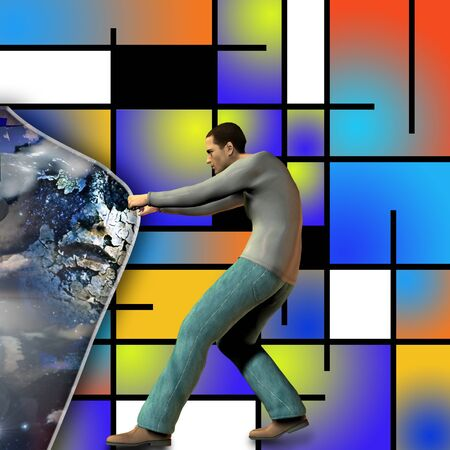 mondrian: Man pulls fabric of art to show what may be beneath Stock Photo