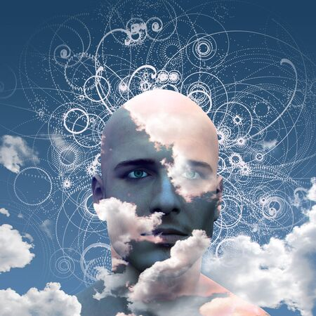 free thinking: Mans head in clouds abstract background