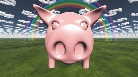 dollar symbol: Pig and dollar symbol clouds abstract background
