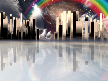 city background: Heavenly City abstract background