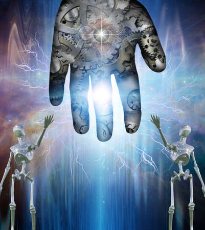 Robotic figures show gear hand abstract background